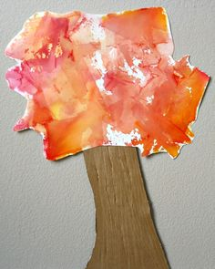 Tissue Paper Art Fall Tree Craft - - Create beautiful art with bleeding tissue paper. Then put together this simple fall tree craft for kids. Fall Arts And Crafts, Fall Crafts For Kids, Toddler Crafts, March Crafts, Kids Crafts, Autumn Activities For Kids, Fall Preschool, Preschool Crafts, Preschool Ideas