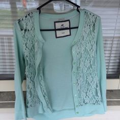 Boutique Brand Mint Cardigan Mint green lace front cardigan with button closure. Beautiful color with floral decoration in the lace New York Poof Excellence  Sweaters Cardigans