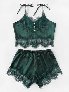 Colrovie Green Satin Lace Cami Top And Shorts And Thong Pajama Set Women 2019 Fashion Pajamas Lounge Sleepwear Sexy Nightgown Satin Pyjama Set, Pajama Set, Pijamas Women, Green Lingerie, Satin Cami Top, Jolie Lingerie, Sexy Lingerie, Womens Pyjama Sets, Trendy Swimwear