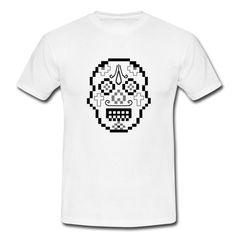 Sugar Skull Pixel Style - T-shirt Männer (2-farbig) - Männer T-Shirt Creation T Shirt, Urban People, Fluffy Kittens, Shops, Tee Shirts, Tees, Pyjamas, Illustrators, How To Draw Hands