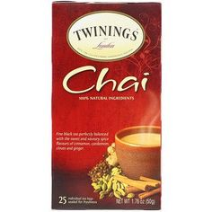 Twinings, Chai Tea, 25 Tea Bags, oz g) - iHerb Vanilla Chai, French Vanilla, Spiced Apples, Best Tea, Health And Nutrition, Women's Health, Glass Containers, Natural Flavors