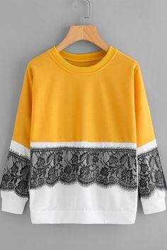 Lace Crochet Contrast Sweatshirt Mustard
