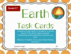 24 Task Cards that review Earth's layers, plate tectonics, the rock cycle and weathering/deposition/and erosion