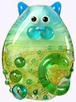 Luxe kitty focal bead by Keiara Wells. Polymer Beads, Clay Beads, Lampwork Beads, Polymer Clay, Mosaic Glass, Glass Art, Fire Glass, Glass Animals, Beaded Animals