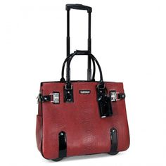 """Cabrelli 15.6"""" Women's Rolling Laptop Bag - Snake With Black Trim Rollerbrief"""
