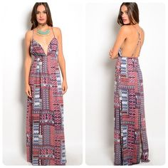 Stunning patchwork maxi dress with split! Racerback adjustable straps- beautiful array of colors in periwinkle- a light cherry red- blue and lavender! Stunning! Dresses Maxi