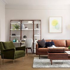 This Axel leather sofa's simple industrial form and the Carlo chair's dramatic & expressive lines are a befitting complement to one other, don't you think?  They do say opposites attract! Shop this whole look with the link in bio! #mywestelm