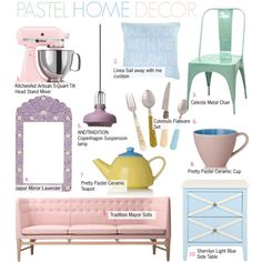 Pastel Home Decor by kusja on Polyvore featuring interior, interiors, interior design, home, home decor, interior decorating, &Tradition, Dot & Bo, KitchenAid and Present Time