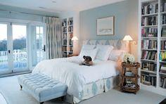 100 Stunning Farmhouse Master Bedroom Decor Ideas - Page 59 of 99 - Afifah Interior Blue Master Bedroom, Farmhouse Master Bedroom, Dream Bedroom, Blue Bedrooms, Pretty Bedroom, White Bedroom, Teen Bedroom, Airy Bedroom, Bedroom Colours