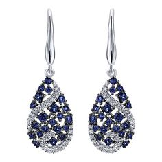 14k White Gold Lusso Color Style  Drop Earrings With  Diamond  With  And Sapphire.