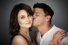 "Kissing Booths (Emily Deschanel as Temperance Brennan and David Boreanaz as Seeley Booth on ""Bones"")"