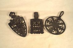 3 Kitchen Trivets Cast Metal Aluminum Iron by SnapshotsThroughTime