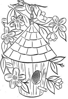 free birdhouse coloring page - Google Search