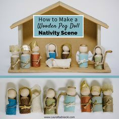 Step by step tutorial showing how to make a wooden peg doll nativity set. Simple DIY wooden nativity scene; Christmas home decor, perfect for kids.