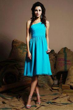 A-line One Shoulder Shirred Bodice Self-Tying Bow Chiffon Bridesmaid Dress-wbm0156, $169.95