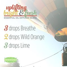 This essential oil diffuser blend is a breath of fresh air!! Breathe (a combination of Laurel Leaf, Peppermint, Eucalyptus, Melaleuca, Lemon, Ravensara, and Cardamom) maintains feelings of clear airways and easy breathing. It also minimizes seasonal threats. Wild Orange is a powerful cleansing and purifying agent and is uplifting to the mind and body. Lime positively affects mood with stimulating and refreshing properties promoting emotional balance and well-being.  www.hayleyhobson.com