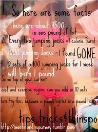 7000 jumping jacks = 1 pound gone...