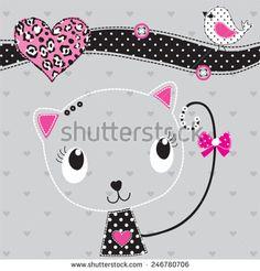 cute cat with bird vector illustration - stock vector