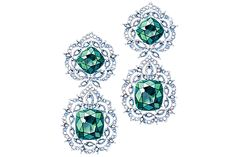 18ct Fairmined gold, emerald and marquise-cut diamond earrings, Chopard Green Carpet Collection, POA