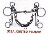 Jointed Pelham-To be absolutely correct, this bit should not work, but horses don´t read the books & some find the jointed mouth piece much more comfortable than a traditional (& correct) mullen or port mouth bit. It should always be used with a lipstrap.