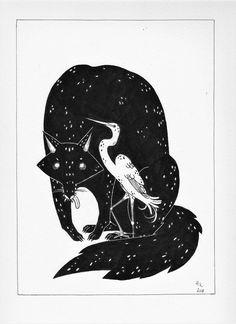 Wolf and crane by https://harumirun.deviantart.com on @DeviantArt