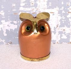 Copper-owl-bank-coin-money-holder-home
