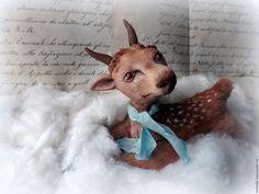 Купить Оленёнок.Новогодний подарок,игрушка интерьерная. - коричневый, авторская кукла, новогодний подарок