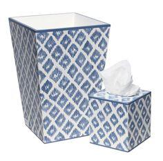 Blue Washed Indigo Pattern on White Wastebasket and Tissue Box Set