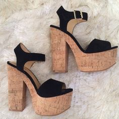 """Black cork ankle strap platform heels sandals 7 Worn once. Excellent condition. Luichiny black velvet and cork platform sandals. Size 7. True to size. Heel height 5.75"""" with 2.25"""" platform. Light and easy to walk in. Removable ball of foot cushions. Cute with dresses and flared jeans. ❌No trade. ❌No PayPal. ❌No low offers. ❌ Luichiny Shoes Platforms"""