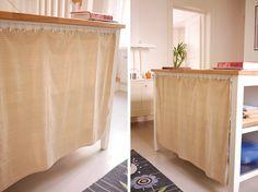 My Ikea hack: kitchen island - a curtain to hide all the stuff on the open shelves  tuulinenpaiva.fi