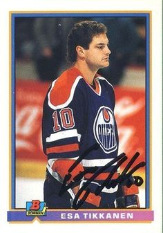 Esa Tikkanen Edmonton Oilers Autographed 1991-1992 Bowman Card # 98 Rare SL COA . $15.00. Edmonton Oilers LWEsa TikkanenHand Signed 1991-1992 BowmanHockey Card # 98WONDERFUL AUTHENTIC HOCKEY COLLECTIBLE!!! .SIGNATURE IS AUTHENTICATED BY SPORTSLOT AUTHENTICATION, NUMBERED SL STICKER ON ITEM.SL COA: # 10913