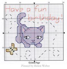Cat Cross Stitches, Cross Stitch Embroidery, Cross Stitch Patterns, Cat Stuff, Perler Beads, Birthday Cards, Kitten, Kids Rugs, Tips