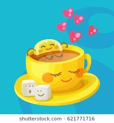 Funny food characters cup tea lemon and sugar Vector Image - Guten morgen - Good Morning Cartoon, Morning Humor, Good Morning Quotes, Funny Morning, Love Smiley, Emoji Love, Funny Emoticons, Smileys, Emoji Images
