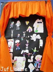 Groepsopdracht waarbij ieder kind een artiest uit het verhaal kiest en deze tekent.