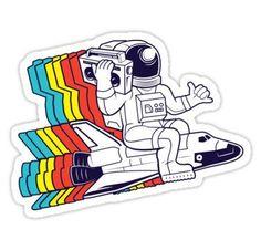 "Astronaut"" Sticker von cintrao - -""Funky Astronaut"" Sticker von cintrao - - ""lisa"" Stickers by odinsxn Stickers Cool, Tumblr Stickers, Phone Stickers, Printable Stickers, Planner Stickers, Notebook Stickers, Misaki Kawai, Aesthetic Stickers, Retro"
