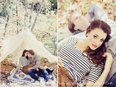 romantic fall engagements with tent. natural light, nature location. cute outfit ideas for engagements