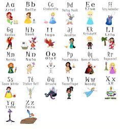 Archivo Digital para imprimir de Disney / Princess alfabeto tarjetas. Ayude a su niño en edad preescolar o kindergartener aprender el alfabeto en una divertida manera de! El tamaño de cada tarjeta es de 4 x 5. Usted recibirá 3 archivos listos para imprimir en papel tamaño carta (8.5x11). Así como 26 archivos individuales para cada tarjeta de la carta.