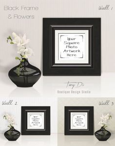 Square Black Leather Frame Mock-up White by TanyDiDesignStudio