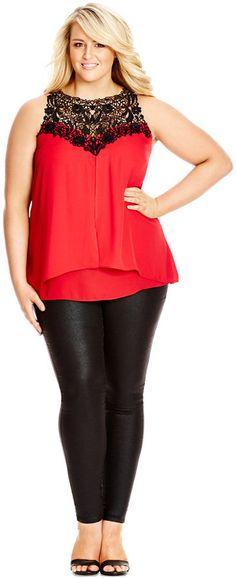 Plus Size Sleeveless Lace-Yoke Blouse
