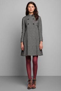 Vintage '60s Tweed Bell Coat #urbanoutfitters #vintage  Coat + purple tights + floral boots