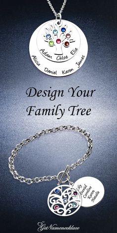 Engraved Family Tree Birthstone Bracelet Sterling Silver