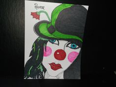 Drawing: Clown with a Hat by Rodster - marker pen on card stock - SOLD