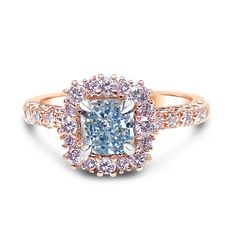 Fancy Intense Blue Radiant Diamond Ring, SKU (1.38Ct TW). incredible Intense Blue Diamond unique ring set in Rose Gold and surrounded by halos of rose and white diamonds. This is a perfect example of unique jewelry perfect for an evening dress fit for a Princess
