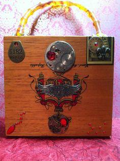 Steampunk Vintage Cigar Box Purse OOAK Vintage Arturo Fuente Dominican cigar box. Amber colored bakelite handle.