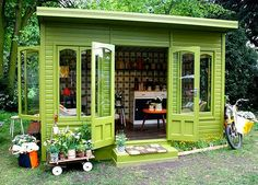 A Fresh Coat of Paint Goes a Long Way The secret to transforming any shed into a personal reprieve.    Read more: 'She Sheds' Are the New Man Caves | PureWow National  Sign Up For PureWow's Daily Email