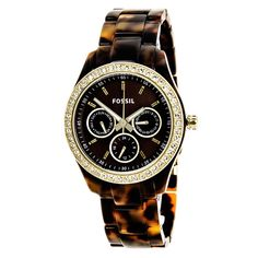 Fossil Women s ES2795  Stella  Multifunction Brown Dial Tortoise Watch -  Overstock™ Shopping - f055dc749b