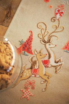 Reindeer cross stitch table runner