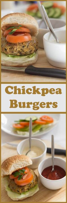 These chick pea burgers are extremely easy to make, filling, high in fibre and low in fat! Everybody loves burgers, and vegetarian burgers can be just as tasty as meat ones. You can make 4 large burgers with this recipe, or 6 slightly smaller ones. The ch Chickpea Recipes, Vegetarian Recipes, Cooking Recipes, Healthy Recipes, Vegetable Recipes, Healthy Meals, Delicious Recipes, Chickpea Burger, Vegetarian Burgers