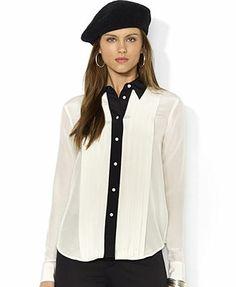 Lauren Ralph Lauren Colorblocked Silk Tuxedo Shirt