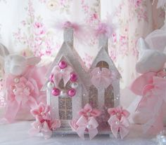Shabby Chic Pink Christmas Village House Glitter Victorian Putz Style French Bottlebrush tree wreath Cottage